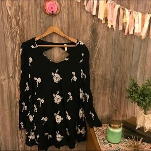 {free people} black floral embroidered dress xs